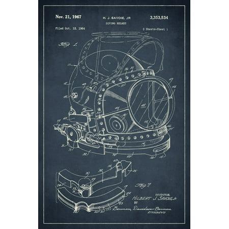 Diving Helmet Nautical Patent Art Print