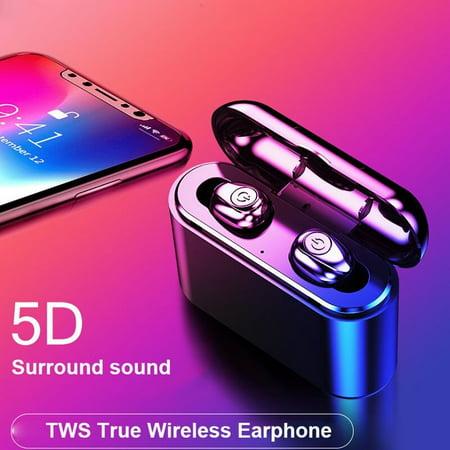Bluetooth 5.0 Headset TWS Wireless Earphones Mini Earbuds Stereo Headphones (Black)