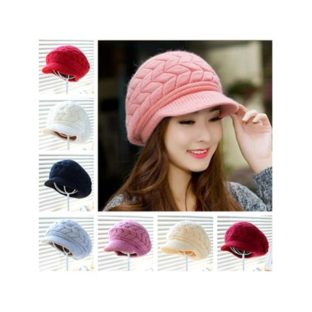 New Women Autumn Winter Cap Knitted Hat Rabbit Fur Cap Ladies Fashion Hat - Magic Hat With Rabbit