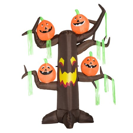 HOMCOM 8' Tall Outdoor Lighted Airblown Inflatable Halloween Decoration - Haunted Tree W/ Jack-O-Lanterns