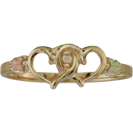 Women's Diamond Accent 10kt with 12kt Gold Leaves Double Heart Ring