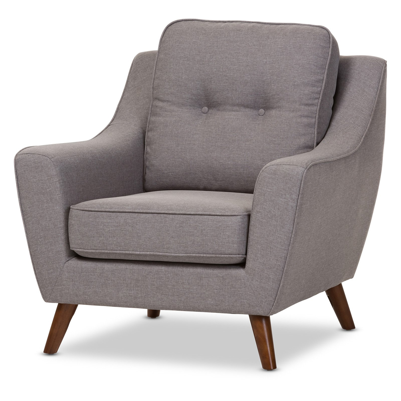 Baxton Studio Deena Mid-Century Modern Light Gray Fabric Upholstered Walnut Wood Button-Tufted Armchair by Wholesale Interiors