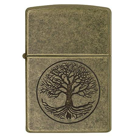 Zippo Tree of Life Pocket Lighter-Antique Brass (Brushed Solid Brass Lighter)
