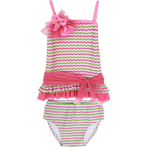 Isobella & Chloe Baby Girls Green Paradise Cove Two Piece Tankini Swimsuit 24M
