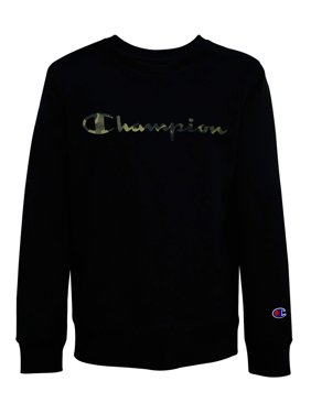 Champion Boys Camo Fill Script Fleece Crewneck Sweatshirt, Sizes 8-20
