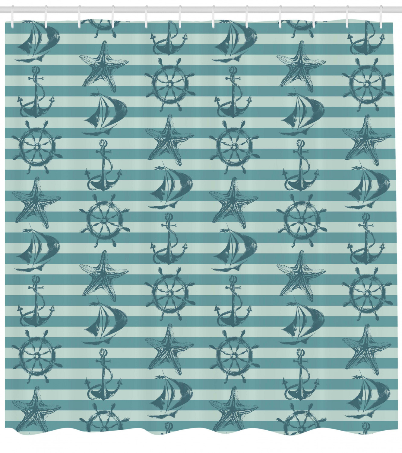 Ships Wheel Shower Curtain Retro Marine Pattern With Ship Wheel Anchor And Starfish On Striped Background Fabric Bathroom Set With Hooks Teal