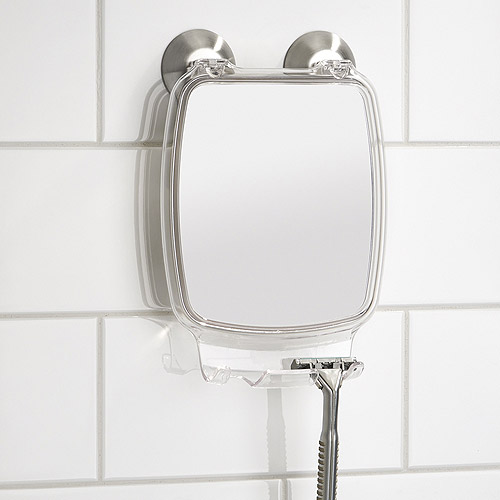 Zadro Zu0026#39;Fogless Fog Free LED Lighted Shower Mirror With LCD Clock    White   Walmart.com