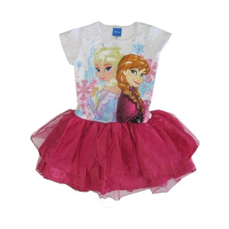 Disney Big Girls Fuchsia Elsa Anna Frozen Print Ruffle Tutu Dress 7-12 - Anna Frozen Dress