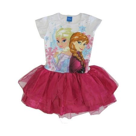 Disney Big Girls Fuchsia Elsa Anna Frozen Print Ruffle Tutu Dress 7-12