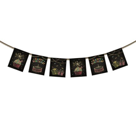 GCKG Happy Birthday Banner Bunting,Charming Fireworks Presents Birthday Cakes Background Banner Garland Flag for Birthday Party Decoration Photo Props - Firework Supplies