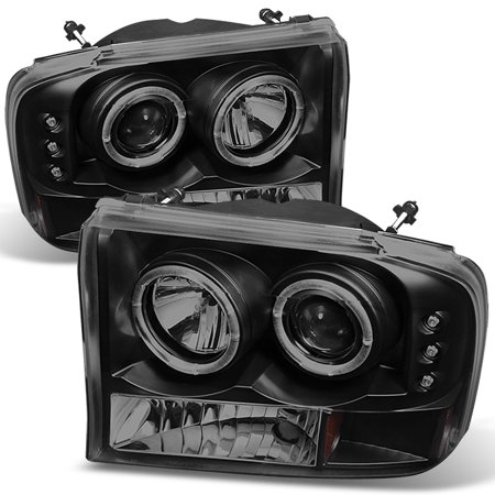 Fits 1999-2004 F250 F350 Excursion BLK Smoked Halo Projector LED Headlights