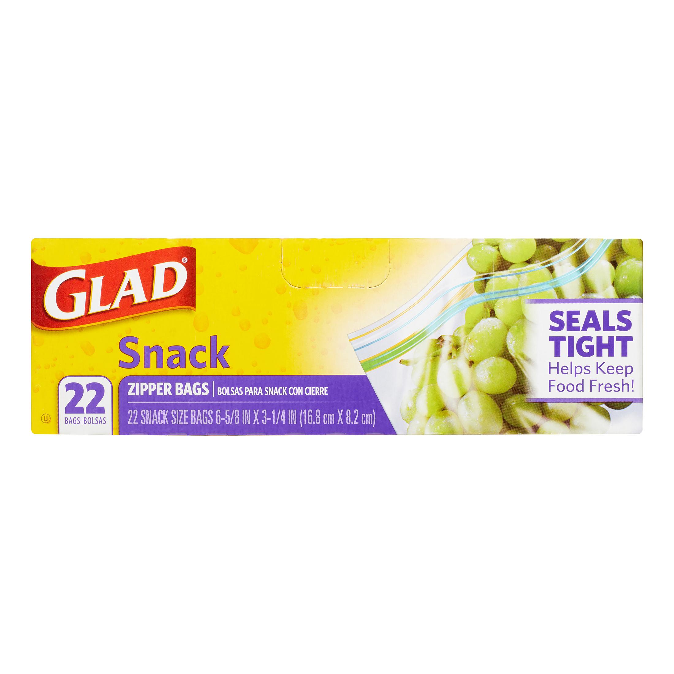 (4 Pack) Glad Zipper Food Storage Snack Bags - 22 ct