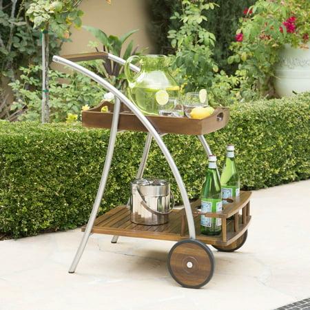 Huron Outdoor Dark Acacia Wood Bar Cart ()