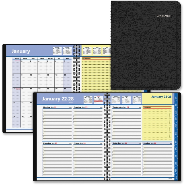 """At-A-Glance QuickNotes Weekly/Monthly Appointment Books - Julian - Weekly, Monthly - 1 Year - January 2018 till December 2018 - 8:00 AM to 5:00 PM - 1 Week, 1 Month Double Page Layout - 8"""" x 9.87"""" - W"""