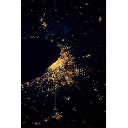 Night time satellite image of Chicago and Lake Michigan, Michigan, USA Print Wall Art](Halloween Usa Michigan)