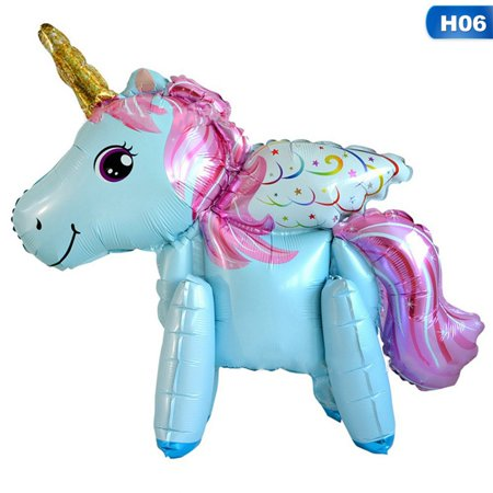 TURNTABLE LAB Unicorn Balloons Walking Rainbow Animal Balloons Aluminum 3D Foil Balloons Baby Shower Decoration 6 Style for Kids children Birthday Party Decorations Supplies Wedding