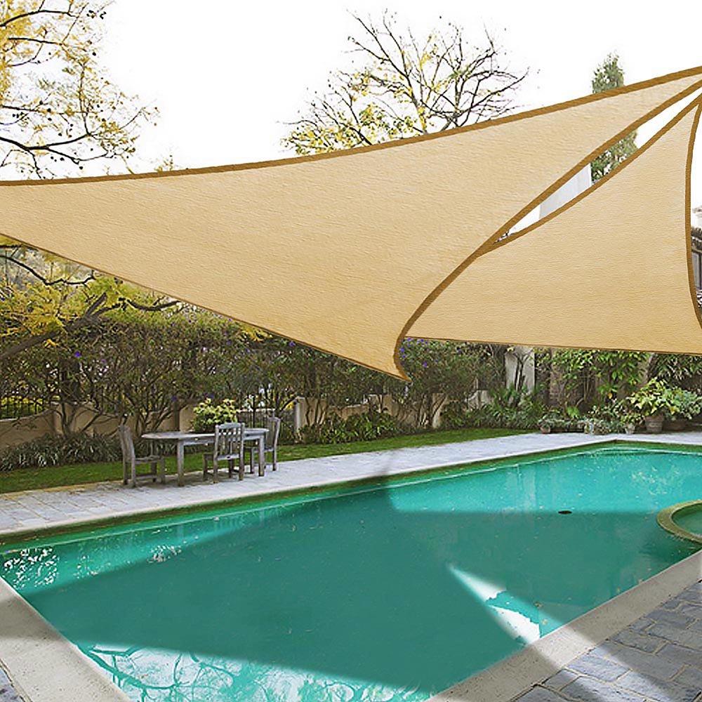 Incroyable 2x 16.5u0027 Triangle Sun Shade Sail Patio Deck Beach Garden Yard Outdoor  Canopy Cover UV