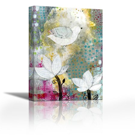 Bird With Lotus Flowers Contemporary Fine Art Giclee On Canvas Gallery Wrap Wall Décor Art Painting 25 X 36 Inch Ready To Hang