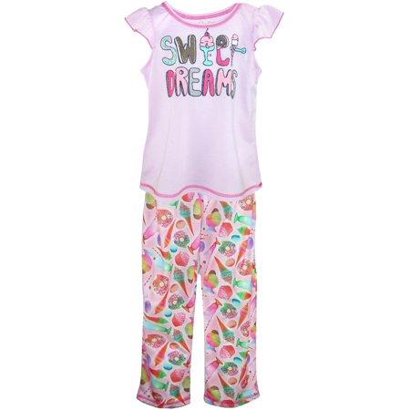 Monkey Pink Girls Pajamas - Size  4/5 Girl's Flutter Sleeve Top and Pant Pajama Set