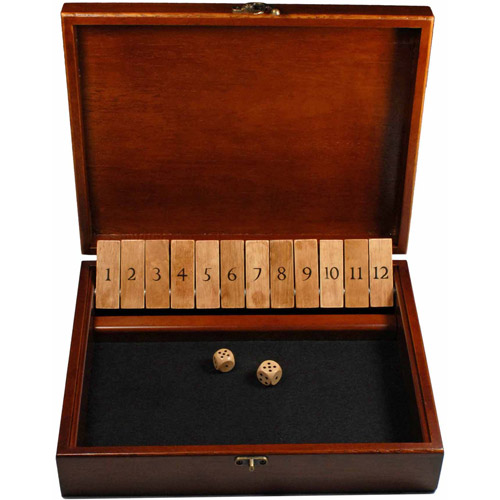 Shut the Box Game with 12 Numbers in an Old World Styled Wood Box with a Lid and a Brass Latch
