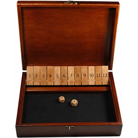 Shut the Box Game with 12 Numbers in an Old World Styled Wood Box with a Lid and a Brass Latch - Halloween Party Games 12 Year Olds