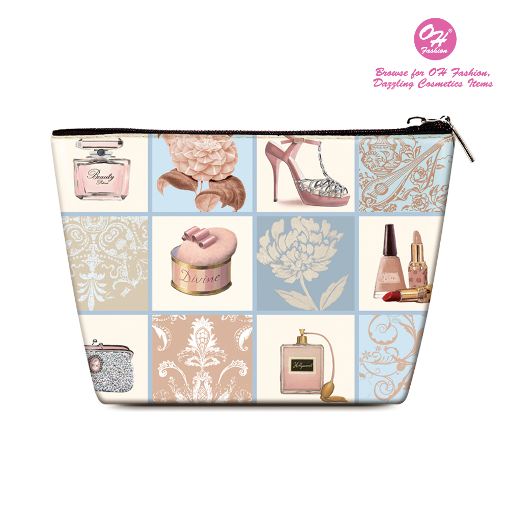 OH Fashion Women's Cosmetic Bag Travel Set Royal Dress to storage make up , beauty organizer , brushes , manicure pedicure , for handbag 1 count