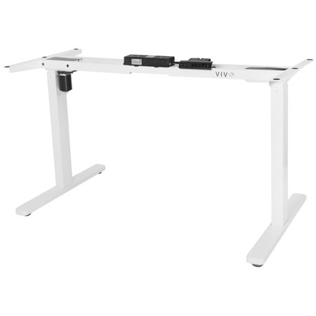 VIVO White Electric Stand Up Single Motor Height Adjustable Desk Frame Workstation Base Standing Desk Legs (DESK-V110EW)