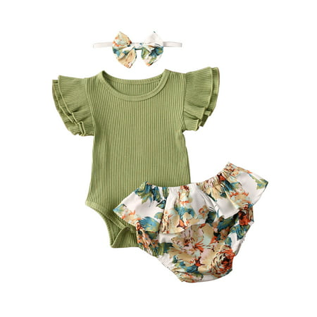 Cute Newborn Baby Girl Clothes Summer Toddler KIds Short Sleeve Romper Tops Floral Shorts Baby Girls Outfits 0-3 Months