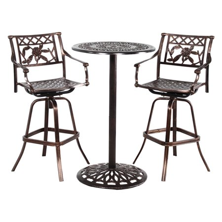 Superb Oakland Living Grace Cast Metal 3 Piece Bar Height Patio Dining Set With 2 Swivel Chairs Machost Co Dining Chair Design Ideas Machostcouk