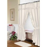 FSCD-L-08 72 x 72 in. Lauren Double Swag Shower Curtain, Ivory