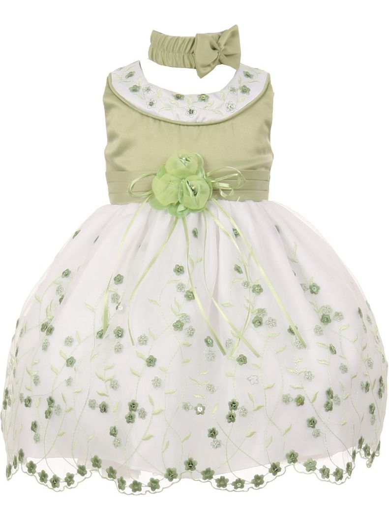 Baby Girls Sage White Floral Jeweled Flower Girl Bubble Dress 6M