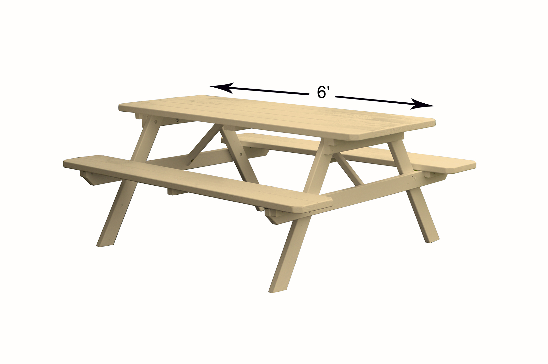 8 foot Wooden Picnic Table with Attached Wooden Benches by Supplier Generic