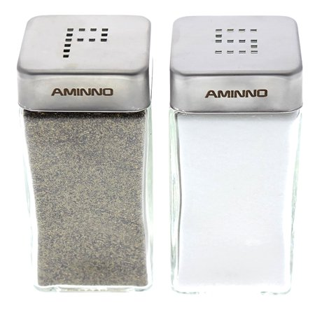 Salt and Pepper Glass Shakers Stainless Steel Tops Lid -  Restaurant Shakers