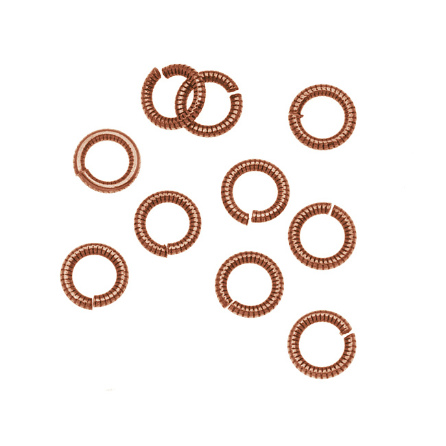 Nunn Design Antiqued Copper Plated Open Jump Rings Etched 6.5mm 17 Gauge (10)