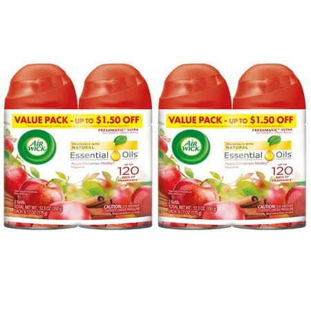 (2 pack) Air Wick Freshmatic 4 Refills Automatic Spray, Apple Cinnamon Medley, (4X6.17oz), Air Freshener (Refills Dutch Apple)