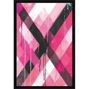Drip Splatter Diagonal Line Grid Contemporary Modern Trendy Abstract Painting 2 Pink & Black, Framed Canvas Art by Pied Piper Creative