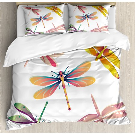 Dragonfly Duvet Cover Set, Five Spiritual Bugs in Modern Abstract Pattern  Natural Beauty Artistic Motif, Decorative Bedding Set with Pillow Shams,