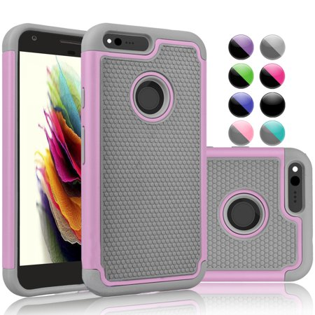 Njjex Case For Google Pixel 2 XL / Pixel 2 / Pixel 3 / Pixel 3 / Pixel XL, Njjex Shock Absorbing Dual Layer Silicone & Plastic Bumper Rugged Grip Hard Protective Cases Cover For Google -Pink
