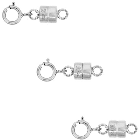 3 PACK Sterling Silver 4 mm Magnetic Clasp Converter for Light Necklaces USA, Square - Light Necklace