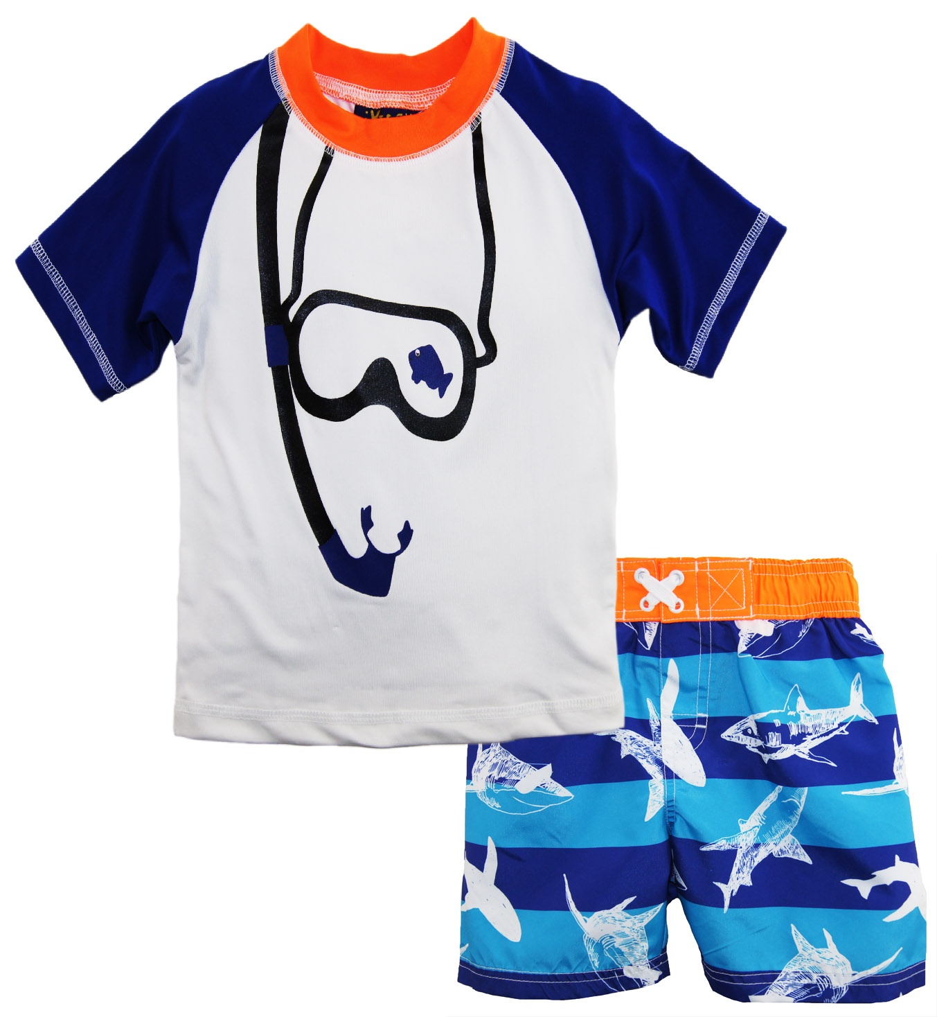 iXtreme Baby Boys' Snorkeling 2-Piece Rash Guard Tee and Swim Short Set