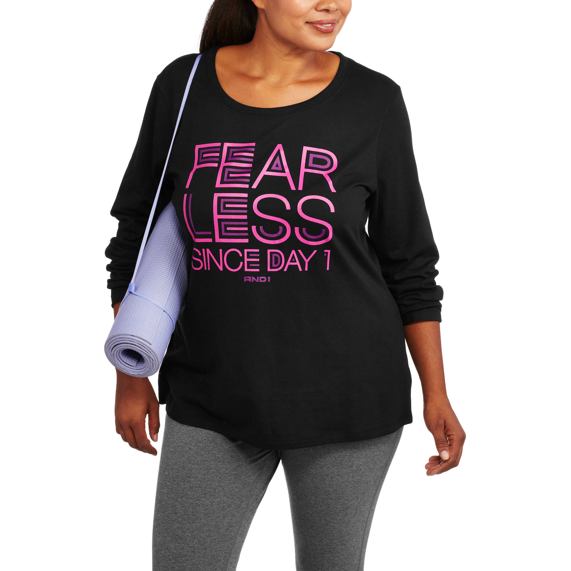AND1 Women's Plus-Size Fearless Long Sleeve Tee