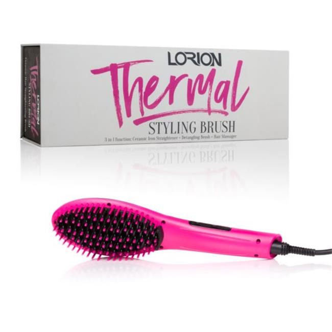 Art Fashions of Europe LTB-100-PNK Ceramic Hair Straightening Automatic Thermal Styling Brush, Pink