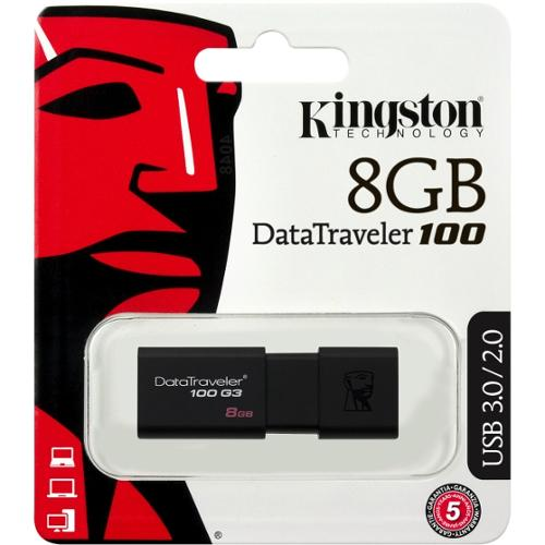 Kingston 8GB USB 3.0 DataTraveler 100 G3 - 8 GB - USB 3.0 - Black - 1 Pack - Retractable