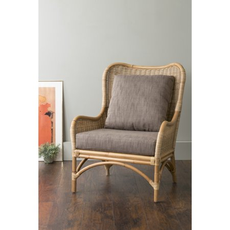 East At Main S Lyndon Brown Square Rattan Accent Chair