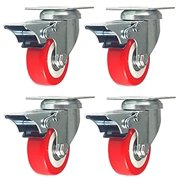 4 Pack Caster Wheels Swivel Plate Brake Casters On Red Polyurethane Wheels (2 inch with brake)