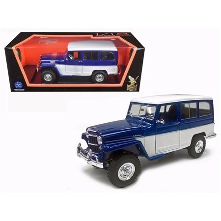 - 1955 Willys Jeep Station 1 by 18 Scale Diecast Model Car - Wagon Blue