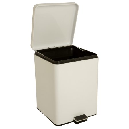 entrust Trash Can with Plastic Liner 20 Quart, Square, White, Steel, Step On