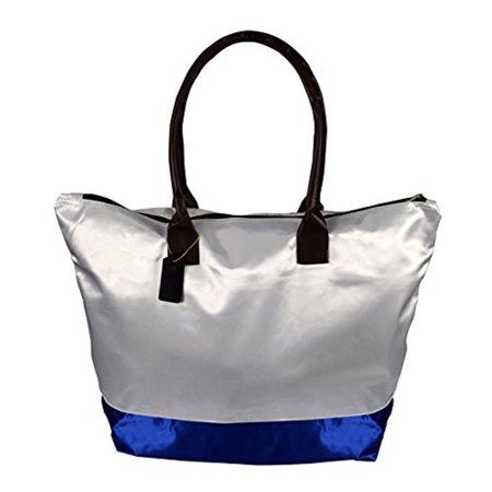 Peach Couture Womens Beach Fashion Large Travel Tote Handbag Shoulder Bag Purse White Royal (Couture Satchel)