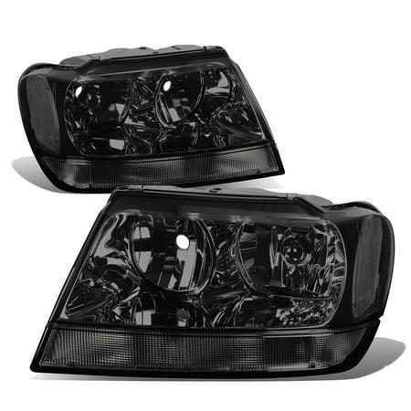 For 1999 to 2004 Jeep Grand Cherokee Smoked Housing Clear Corner Headlight Headlamps WJ 00 01 02 03 (2004 Jeep Grand Cherokee Interior Lights Stay On)