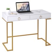 Computer Desk, Modern Simple Home Office Desk Study Table Writing Desk Workstation with 2 Large Storage Drawers, Makeup Vanity Console Table
